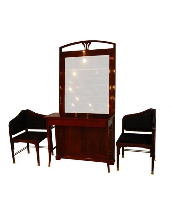 Art Deco Mirror and Chair Set by J & J Kohn