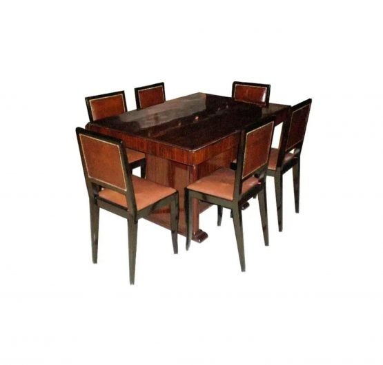 Louis Majorelle Deco Dining Table and Six Chairs