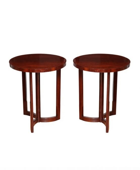 Pair of Art deco Machine Age tables in a Pinwheel Design from the late 1940's