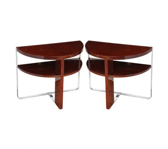 Pair of Machine Age Art Deco Side Tables in the Style of Donald Deskey